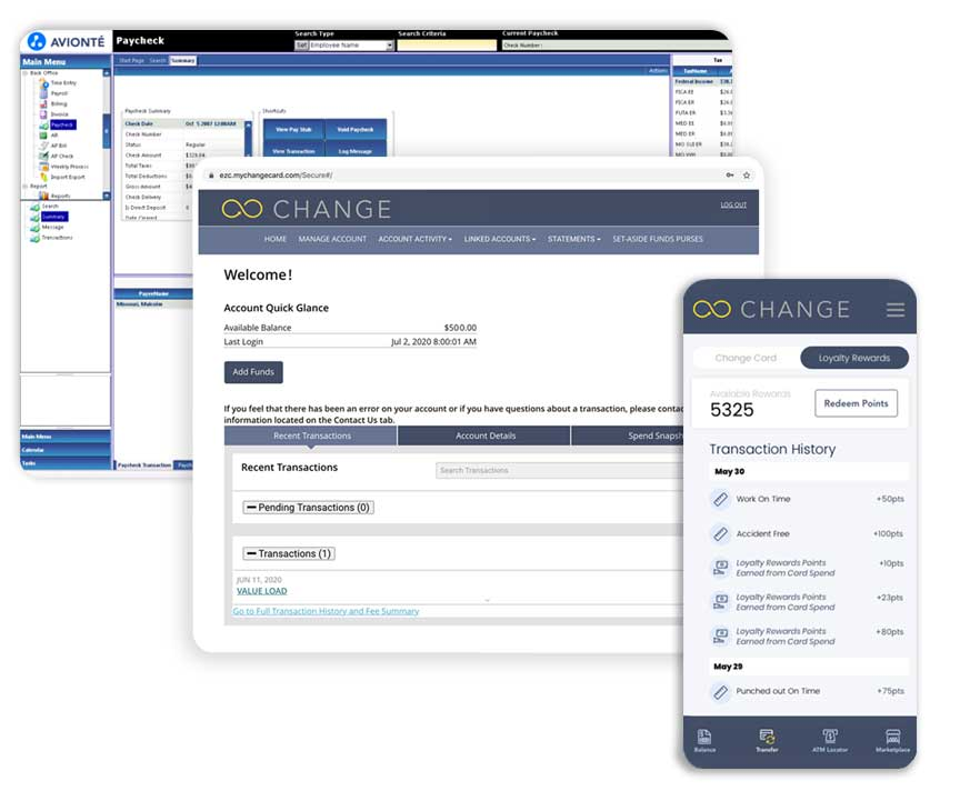 CHANGE card integrated with Avionté