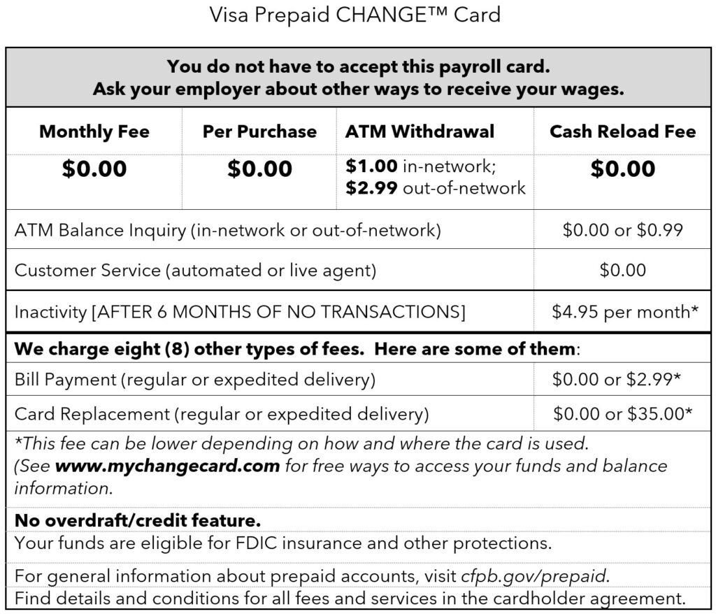 CHANGE card - Short form disclosure Expanded Use card