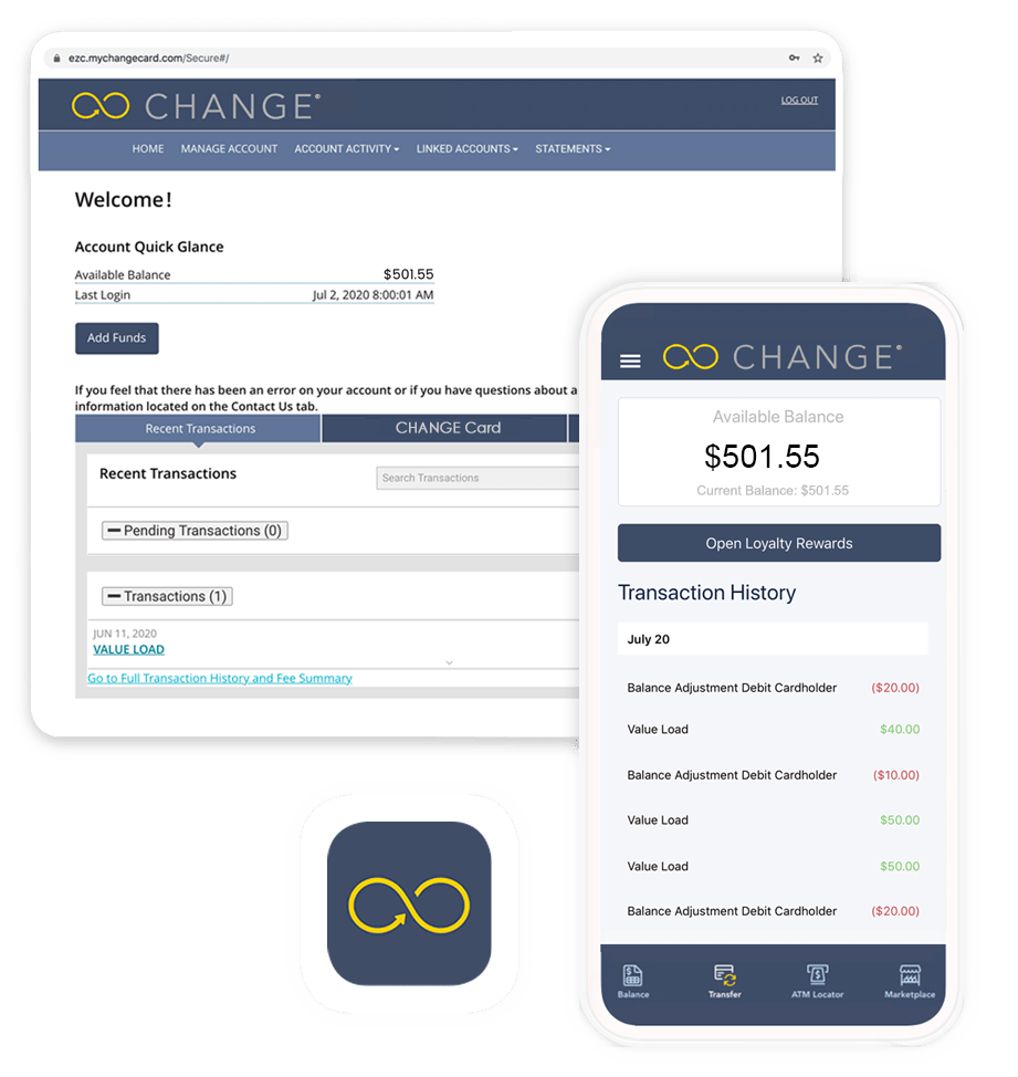CHANGE account information and mobile app